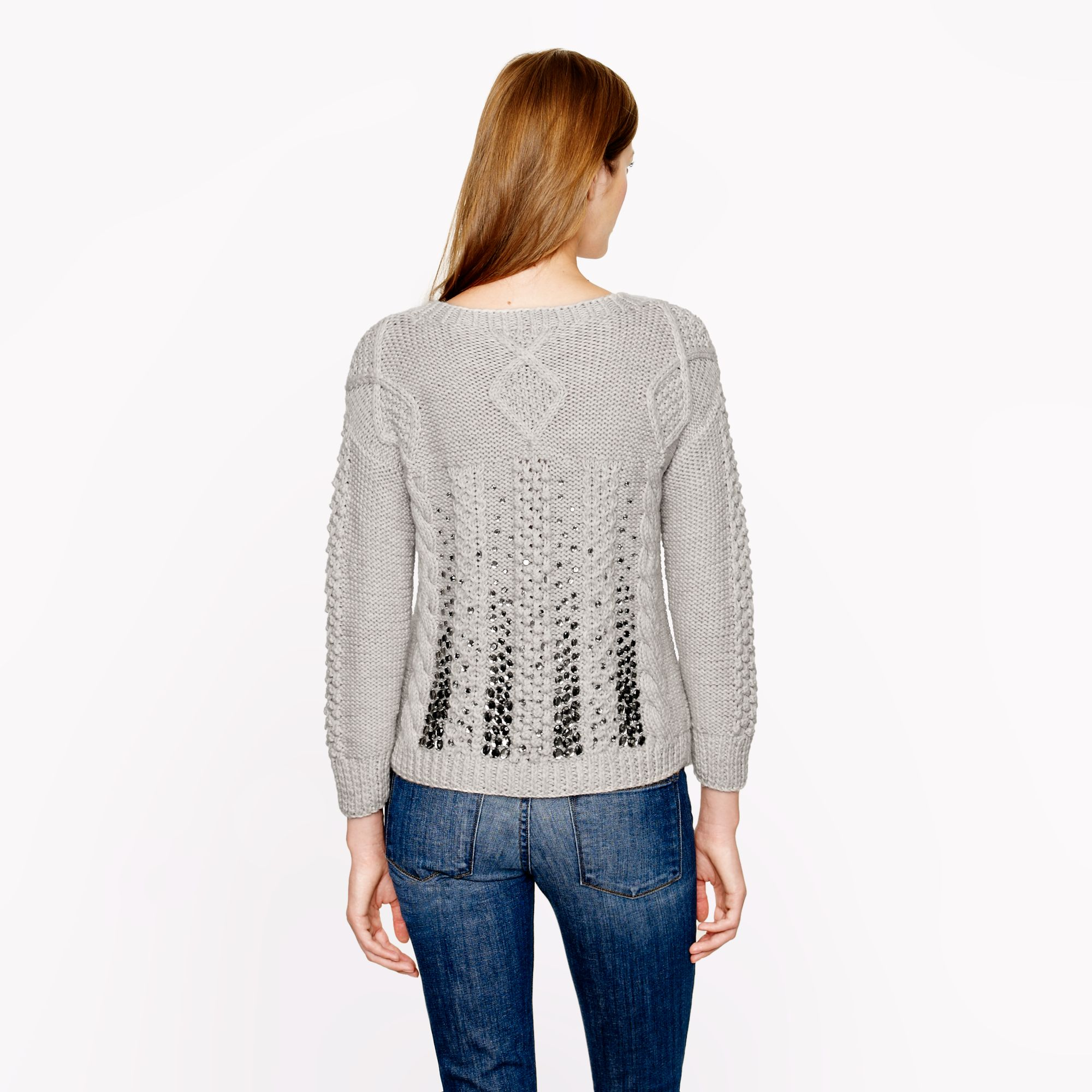 J.crew Collection Handknit Jeweled Cable Sweater in Gray | Lyst