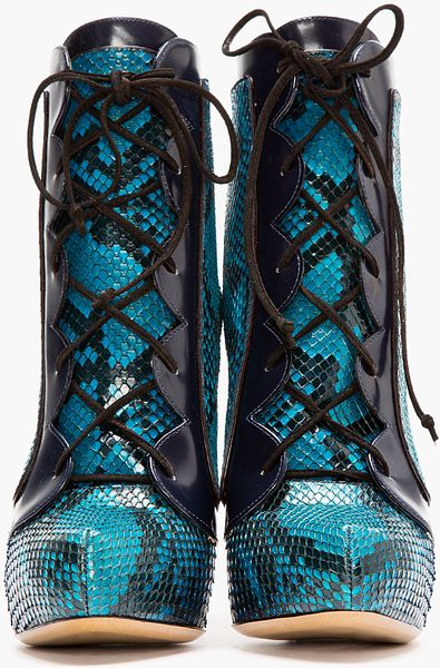 Nicholas Kirkwood Teal Snakeskin Lace Up Ankle Boots In
