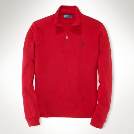 polo ralph lauren interlock half zip pullover in red for. Black Bedroom Furniture Sets. Home Design Ideas
