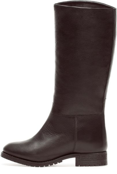pull leather boots in brown lyst