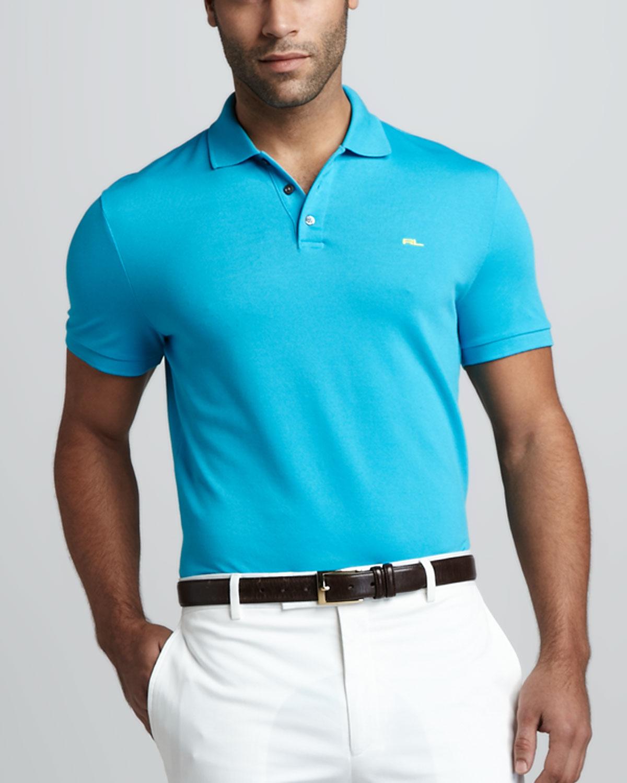Ralph lauren black label mesh polo black in blue for men for Ralph lauren black label polo shirt