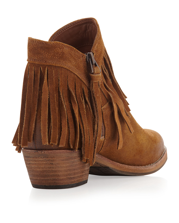 44055004f Lyst - Sam Edelman Sideney Fringe Ankle Boot Whiskey in Brown