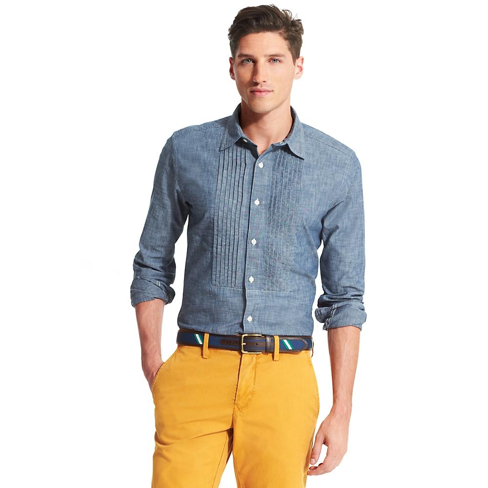Tommy Hilfiger Custom Fit Stripe Shirt In Blue For Men