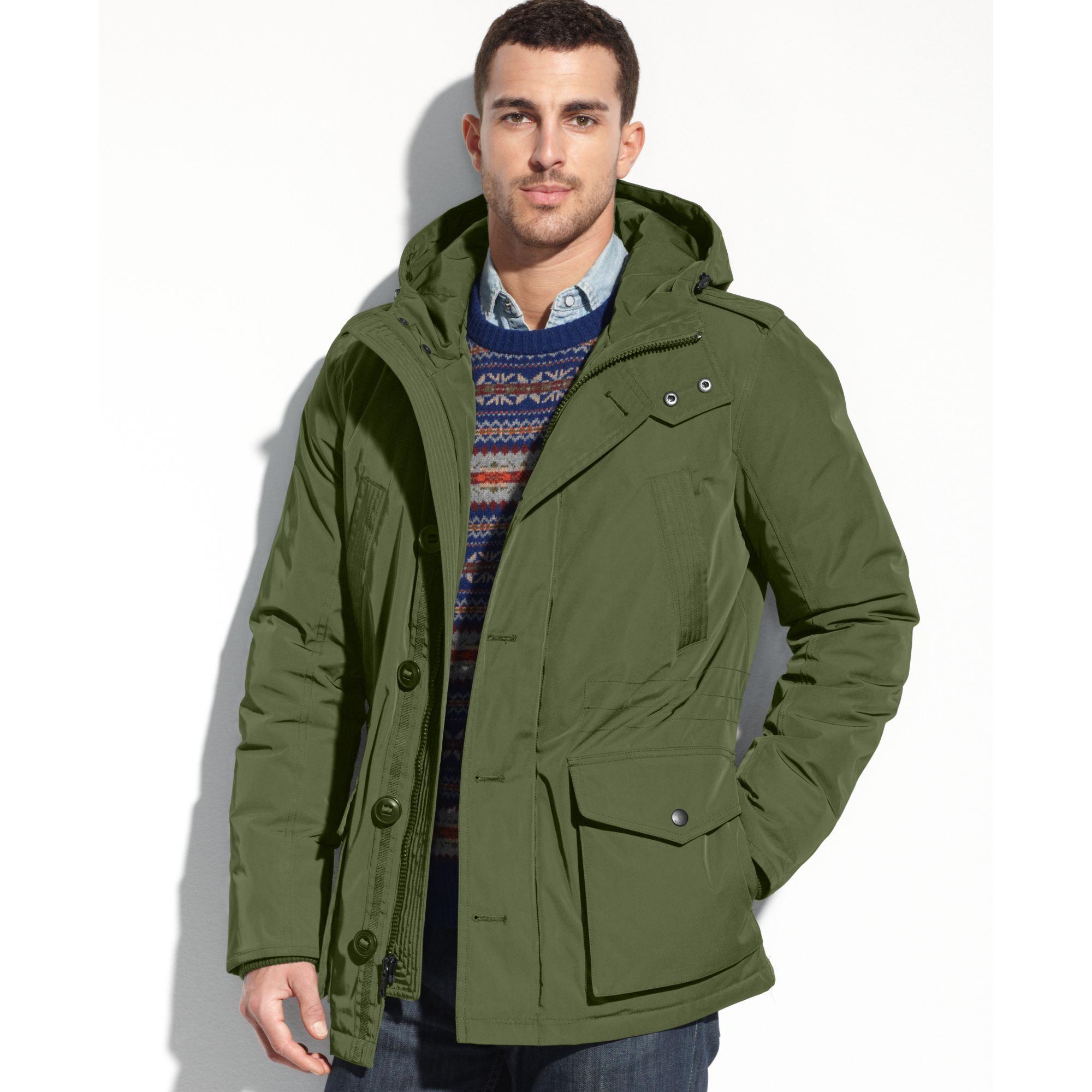 lyst tommy hilfiger hooded parka coat in green for men. Black Bedroom Furniture Sets. Home Design Ideas