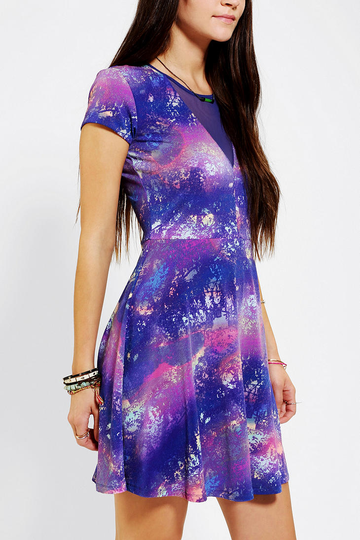 Urban Outfitters Printed Mesh Skater Dress In Purple Lyst