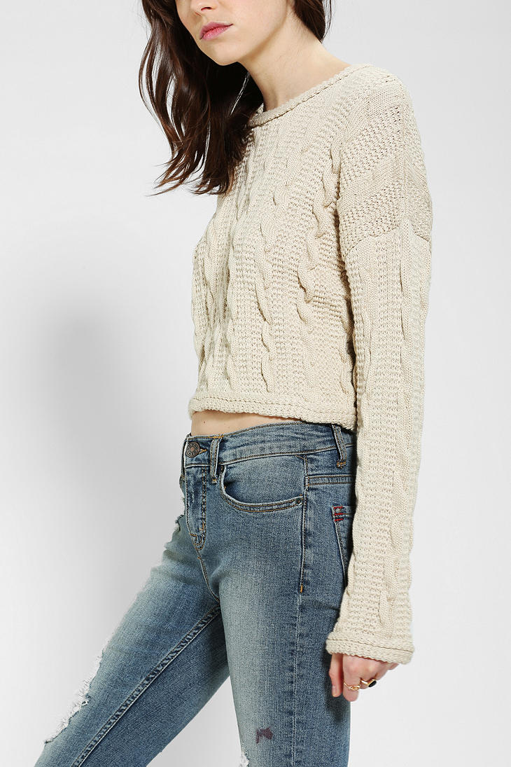 Urban outfitters Cable Knit Cropped Sweater in Natural | Lyst