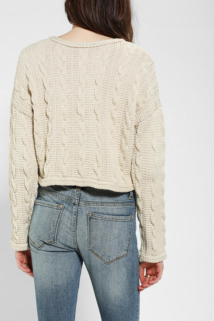 Urban Outfitters Cable Knit Cropped Sweater In Ivory