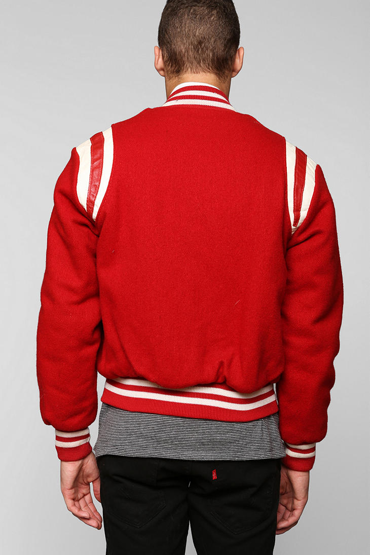 Urban Outfitters Vintage Red Varsity Jacket For Men Lyst