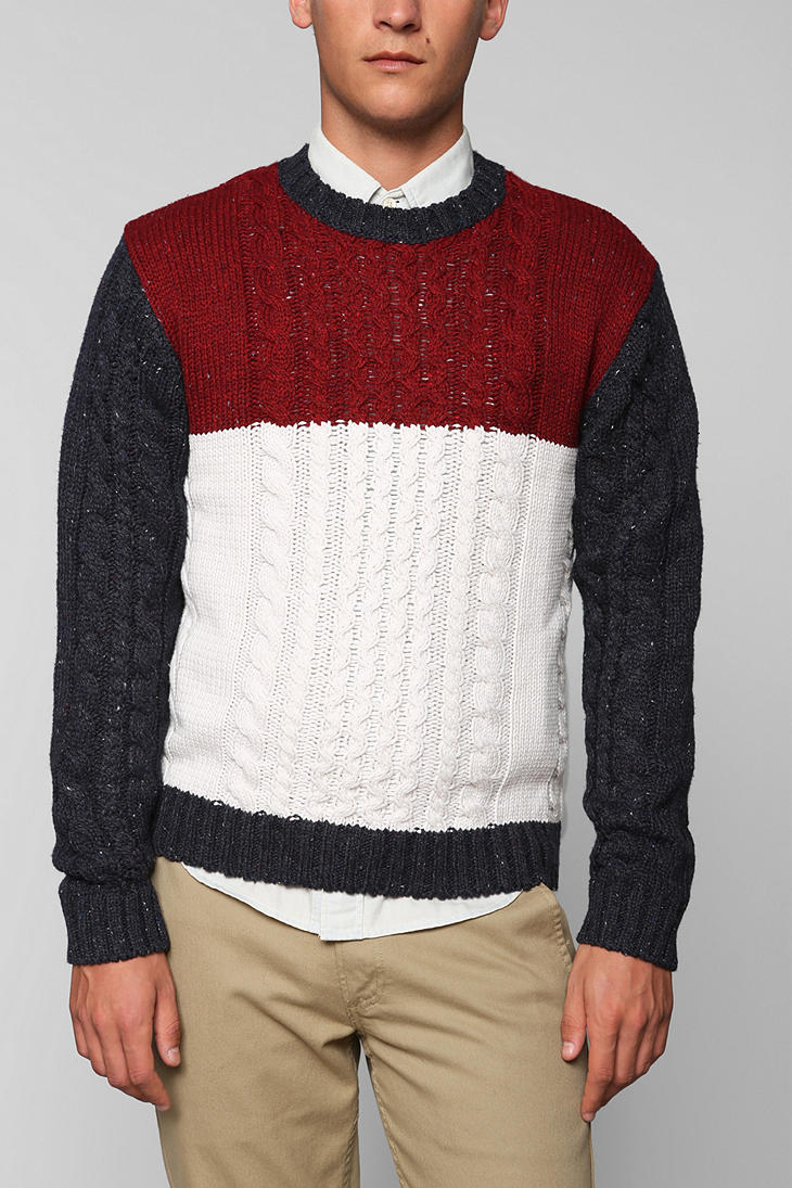 Lyst Urban Outfitters Cpo Cableknit Colorblock Sweater