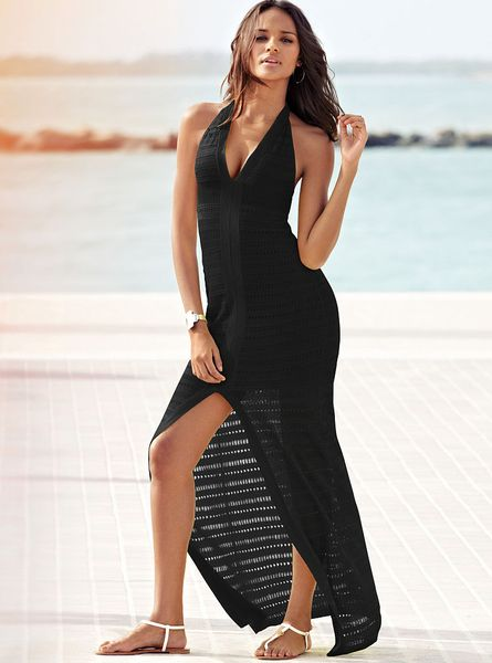 Victoria S Secret Halter Maxi Sweater Dress In Black Lyst