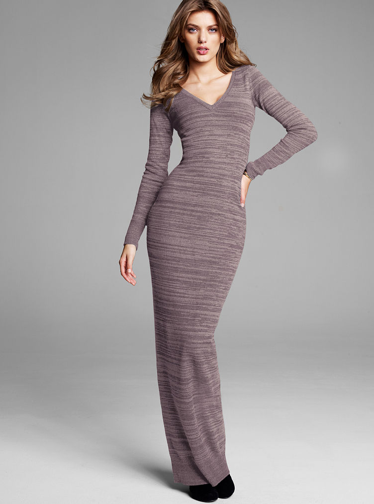 Victoria 39 S Secret Knit Maxi Dress Black Xs Regular In Gray