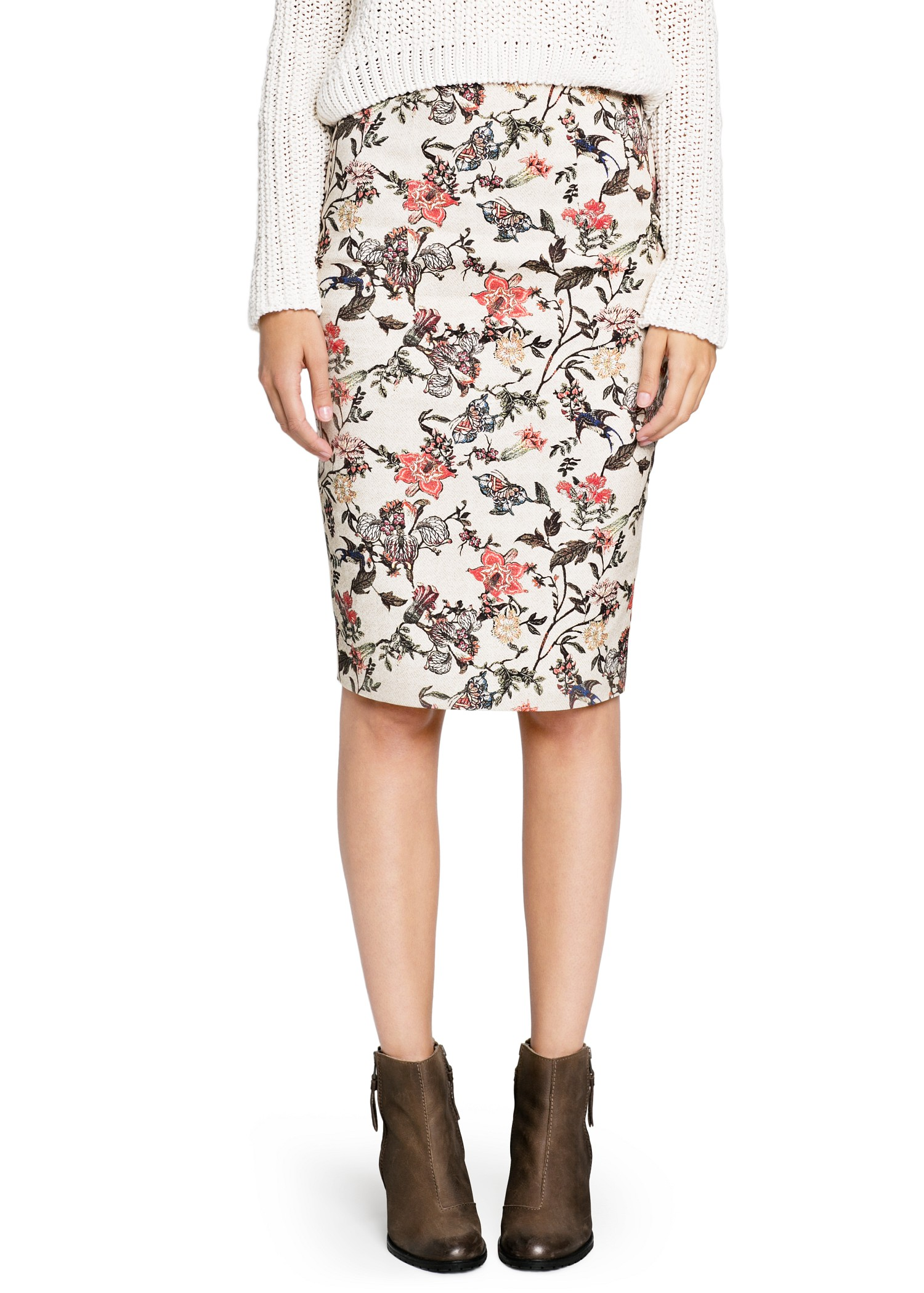 mango floral print pencil skirt in multicolor neutral lyst
