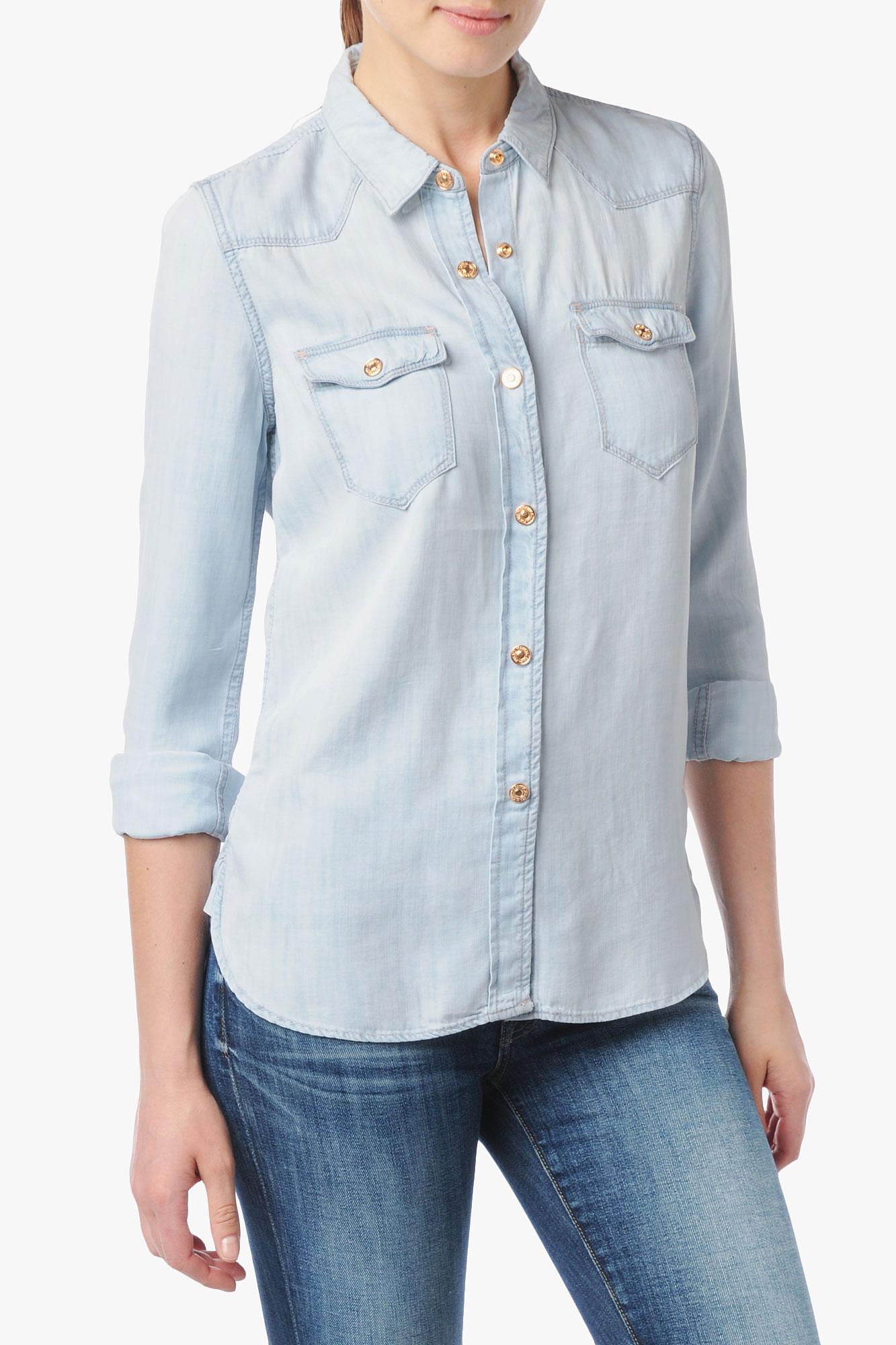 a1036bdf41 Lyst - 7 For All Mankind Slim Western Denim Shirt in Blue