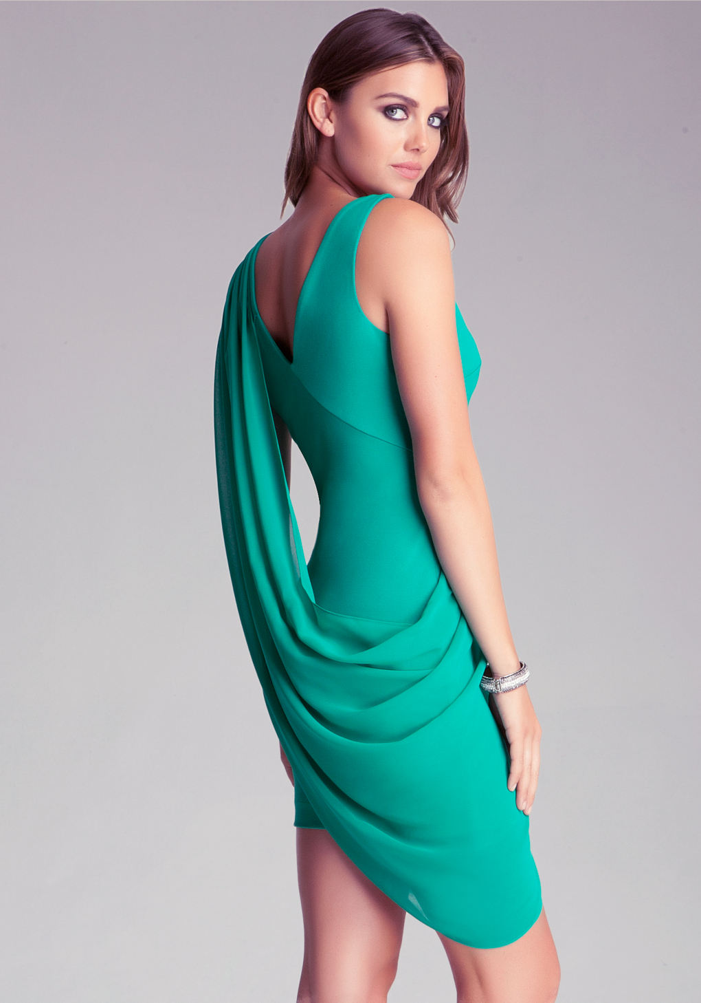 Bebe contrast drape overlay dress in green lyst gallery ombrellifo Images