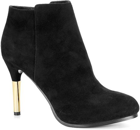 c suede gold heel ankle boot in black lyst