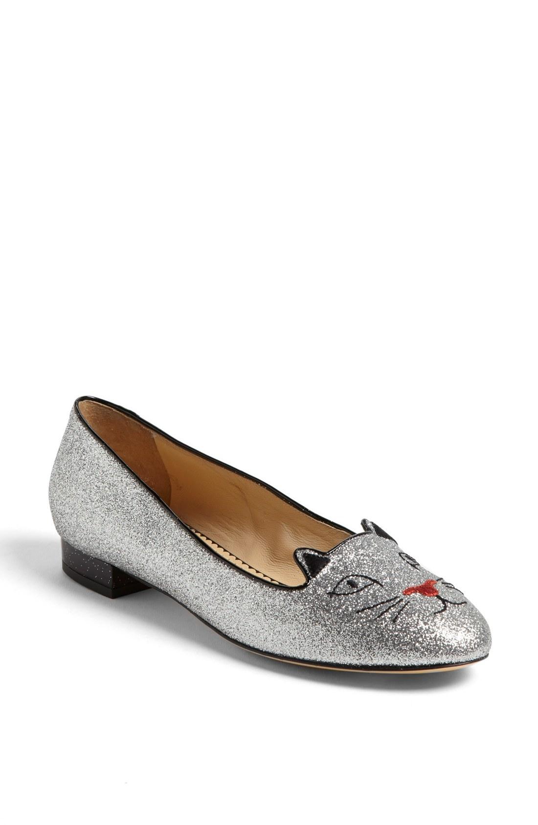 0400e786b1a CHARLOTTE OLYMPIA Silver Glitter Kitty Flat