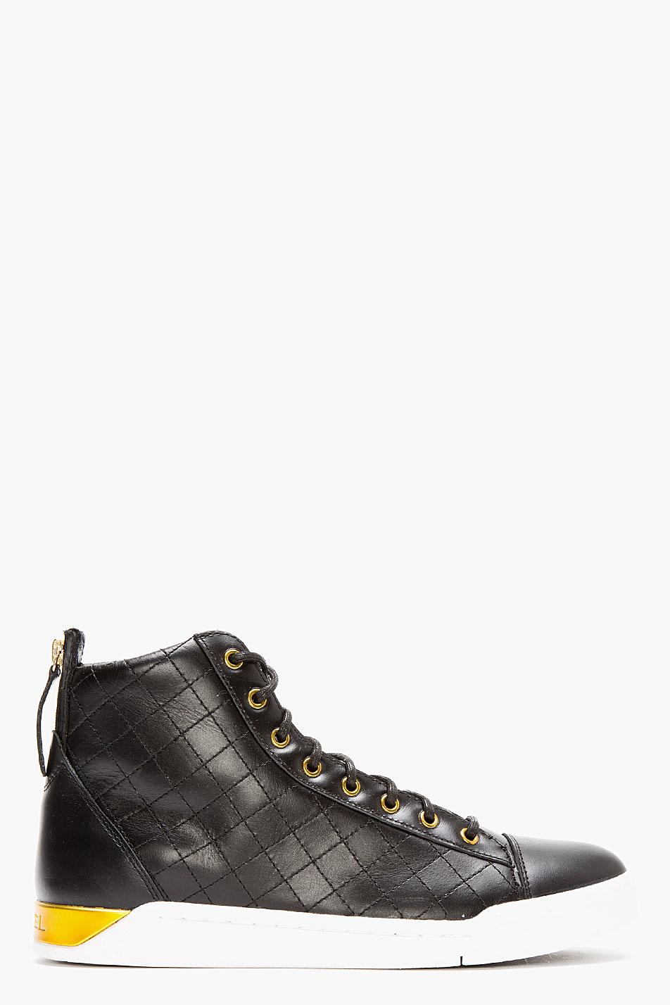 Lyst Diesel Black Quilted Leather Diamond Sneakers In