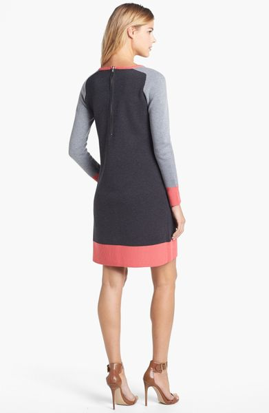 Eliza J Colorblock Shift Sweater Dress In Pink Grey Pink