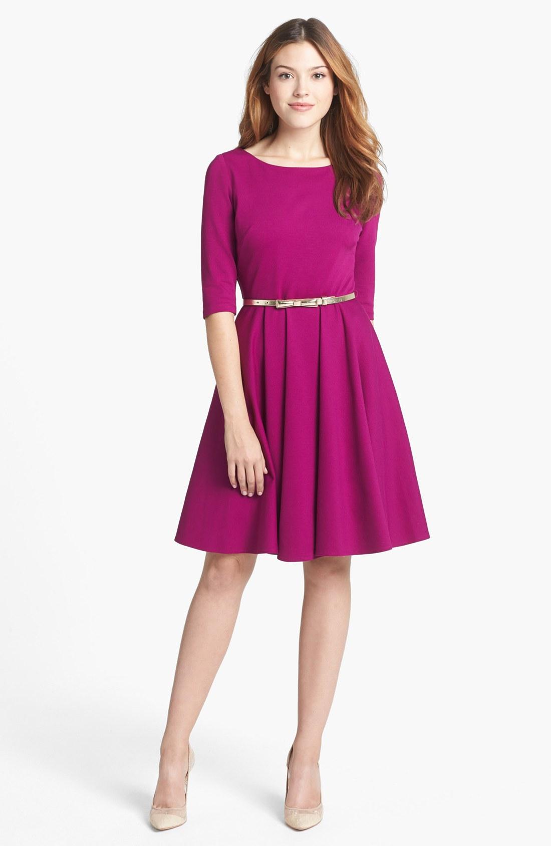 Eliza J Ponte Knit Fit Flare Dress In Purple Magenta Lyst