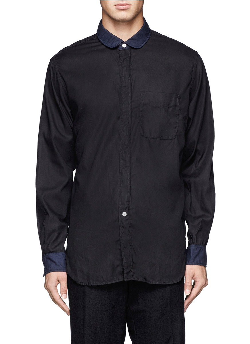 Engineered garments contrast collar and cuffs shirt in for Mens dress shirts with contrasting collars and cuffs