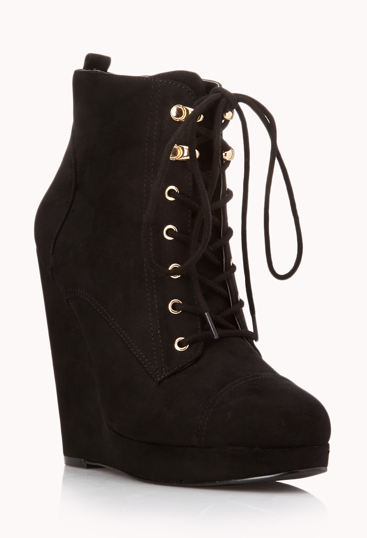 Forever 21 Off Roading Wedge Booties In Black Lyst