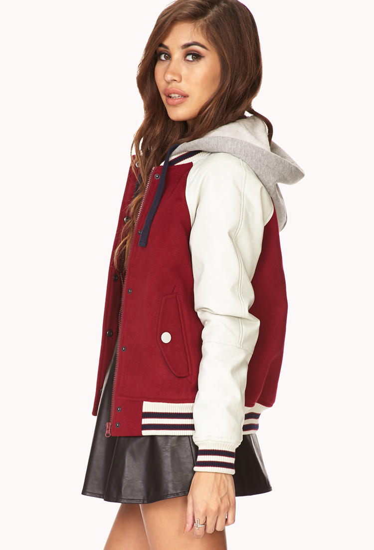 411d10a93 Forever 21 Red Sporty Varsity Jacket