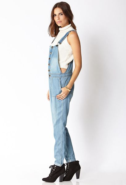 90bc2a36cc72 Forever 21 Life in Progress Chambray Overalls in Blue (DENIM)