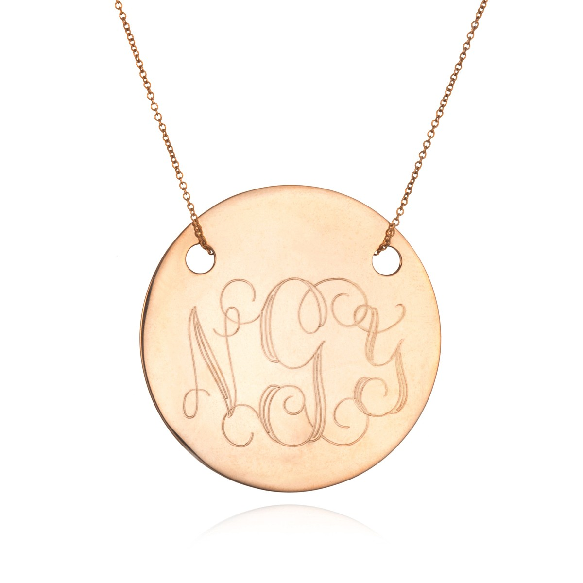 Ginette ny large disc monogram necklace rose gold in gold for Rose gold personalized jewelry