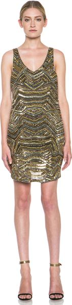Haute Hippie Embellished Tank Mini Dress in Gold (Military & Gold)