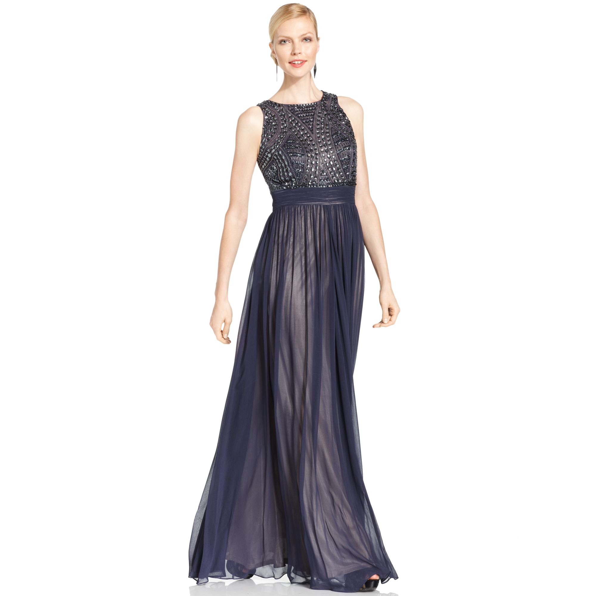 Lyst - Js Collections Sleeveless Beaded Empirewaist Gown in Blue