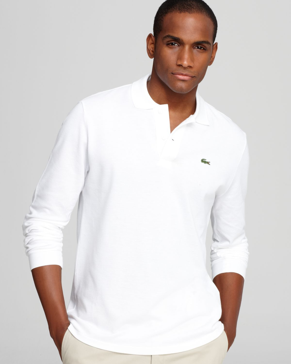 d3a12dcb Lacoste White Long Sleeve Pique Polo - Classic Fit for men