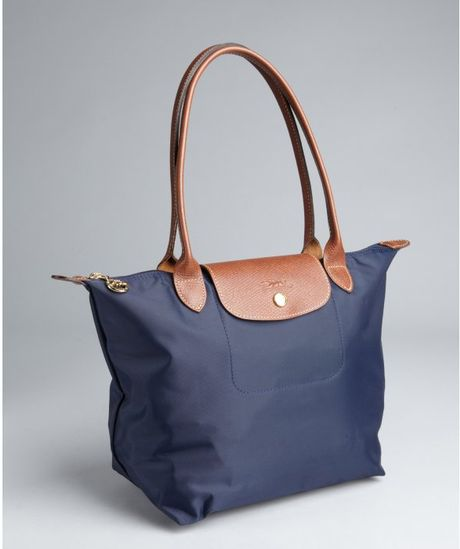 longchamp navy nylon le pliage small shopper tote in blue. Black Bedroom Furniture Sets. Home Design Ideas