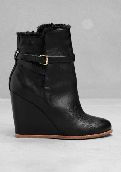 other stories leather and faux fur wedge boots in black