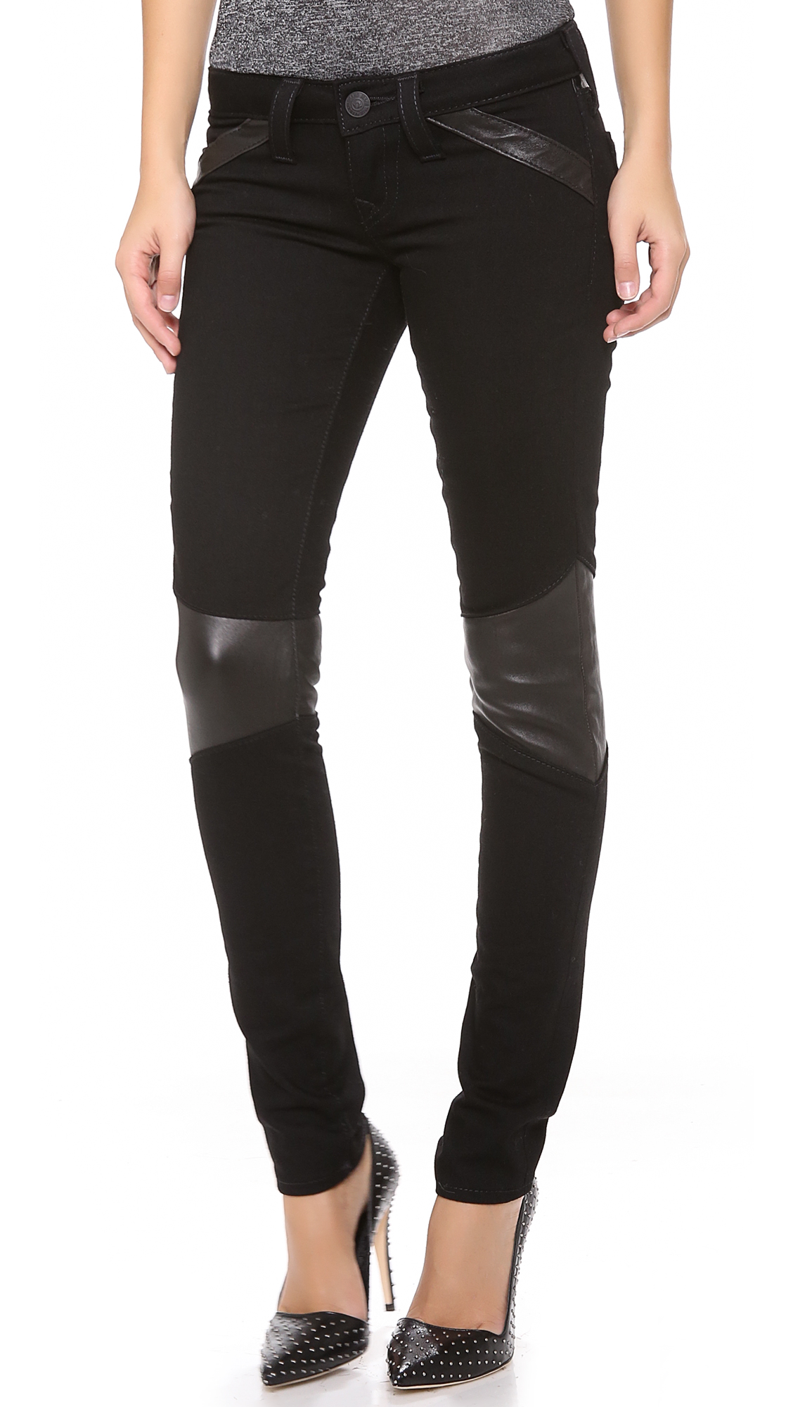 True Religion Super Skinny Moto Pants With Leather Trim In