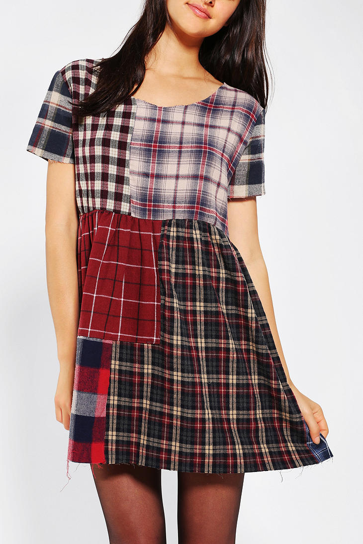 Lyst Urban Outfitters Urban Renewal Patchwork Flannel Dress