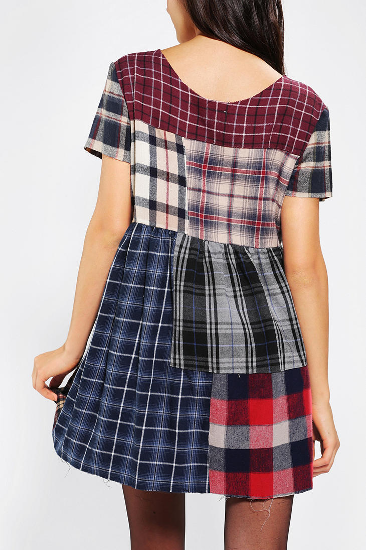 Urban Outfitters Urban Renewal Patchwork Flannel Dress Lyst