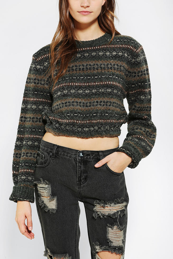 Lyst Urban Outfitters Urban Renewal Cropped Fair Isle Sweater In Green