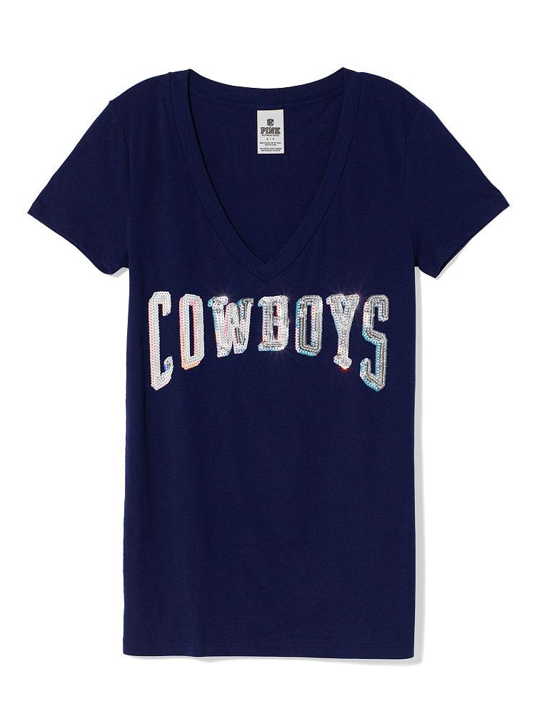 Victoria 39 S Secret Dallas Cowboys Bling V Neck Tee In Blue
