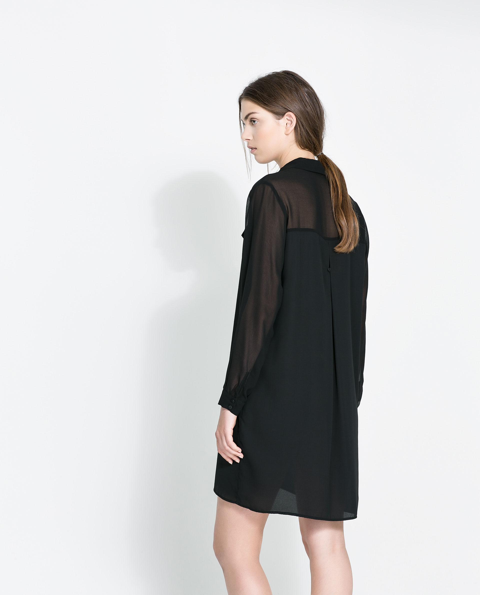 Zara Shirt Dress in Black | Lyst