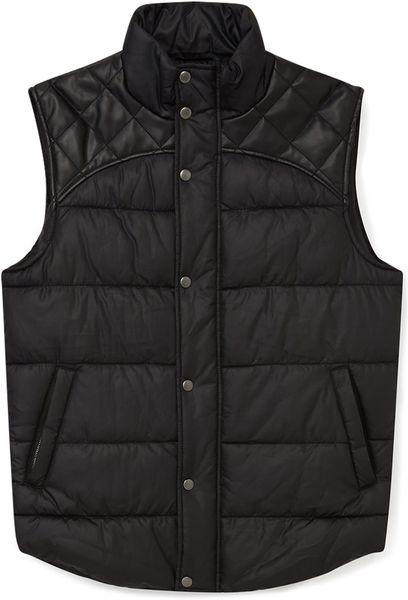 21men Quilted Faux Leather Bubble Vest In Black For Men Lyst