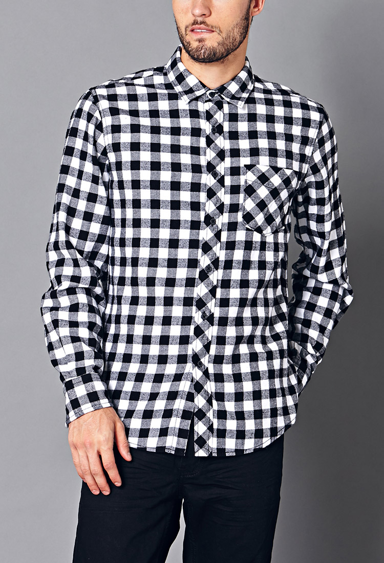 Lyst forever 21 classic fit buffalo check flannel in for Buffalo check flannel shirt jacket