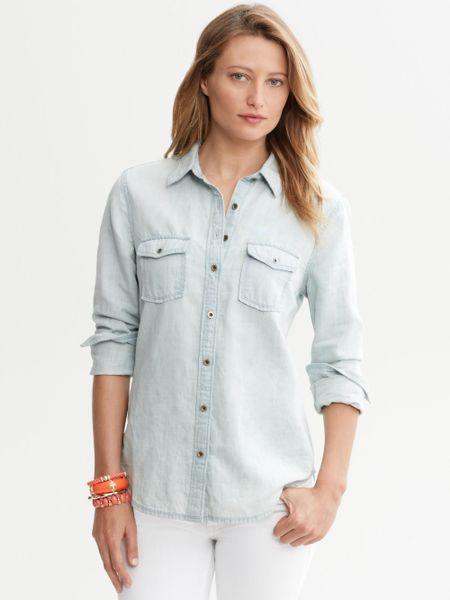 Banana republic light wash denim shirt in blue light for Ladies light denim shirt