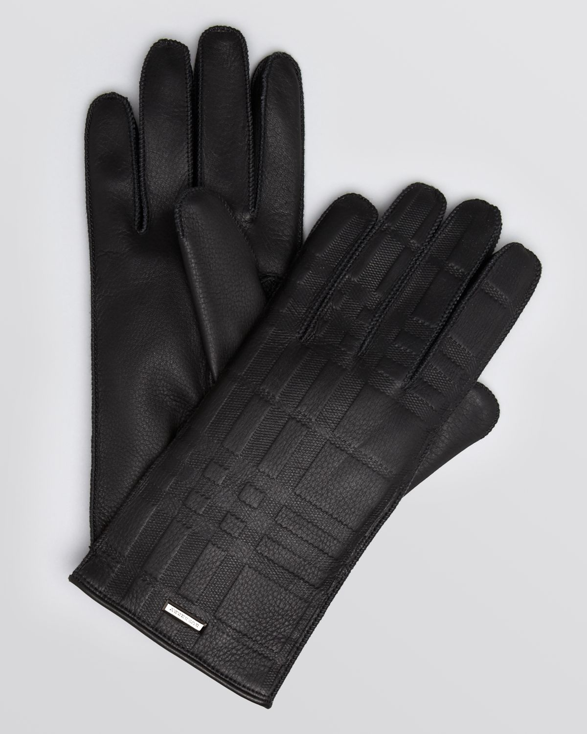 Mens leather gloves dents - Mens Gloves Burberry Burberry Embossed Leather Gloves In Black For Men Lyst