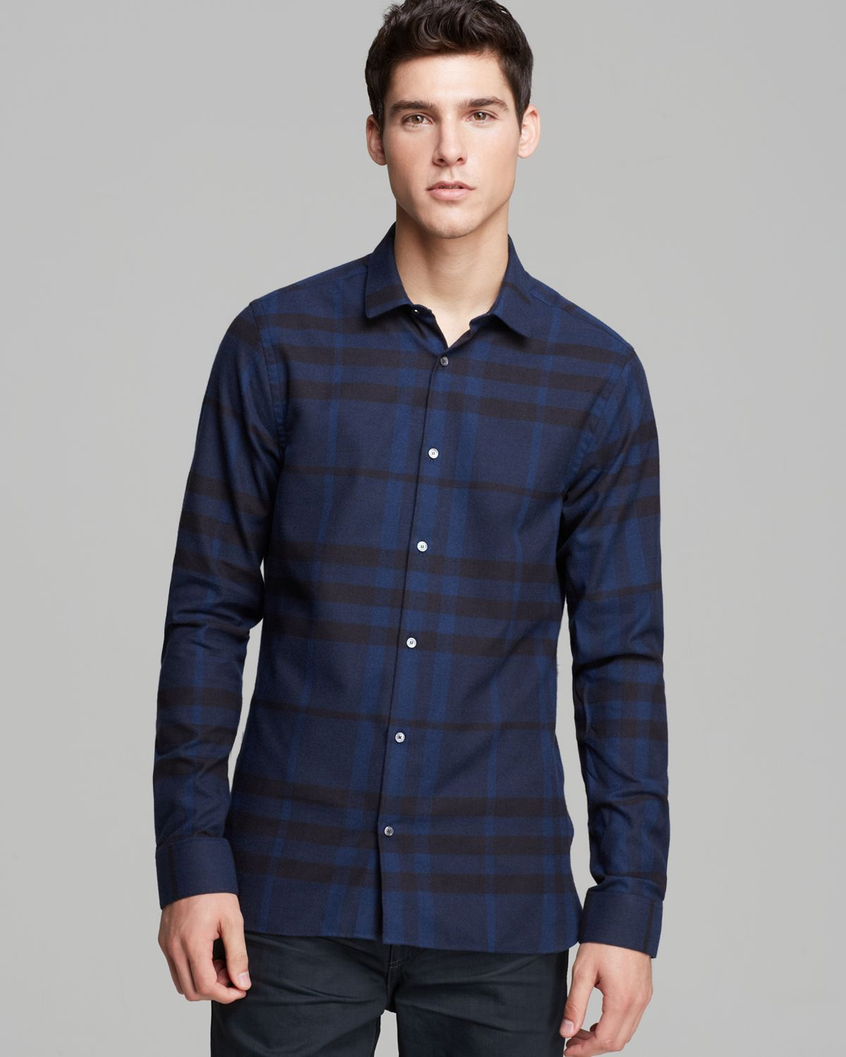 Burberry London Pulbury Check Sport Shirt Slim Fit In Blue