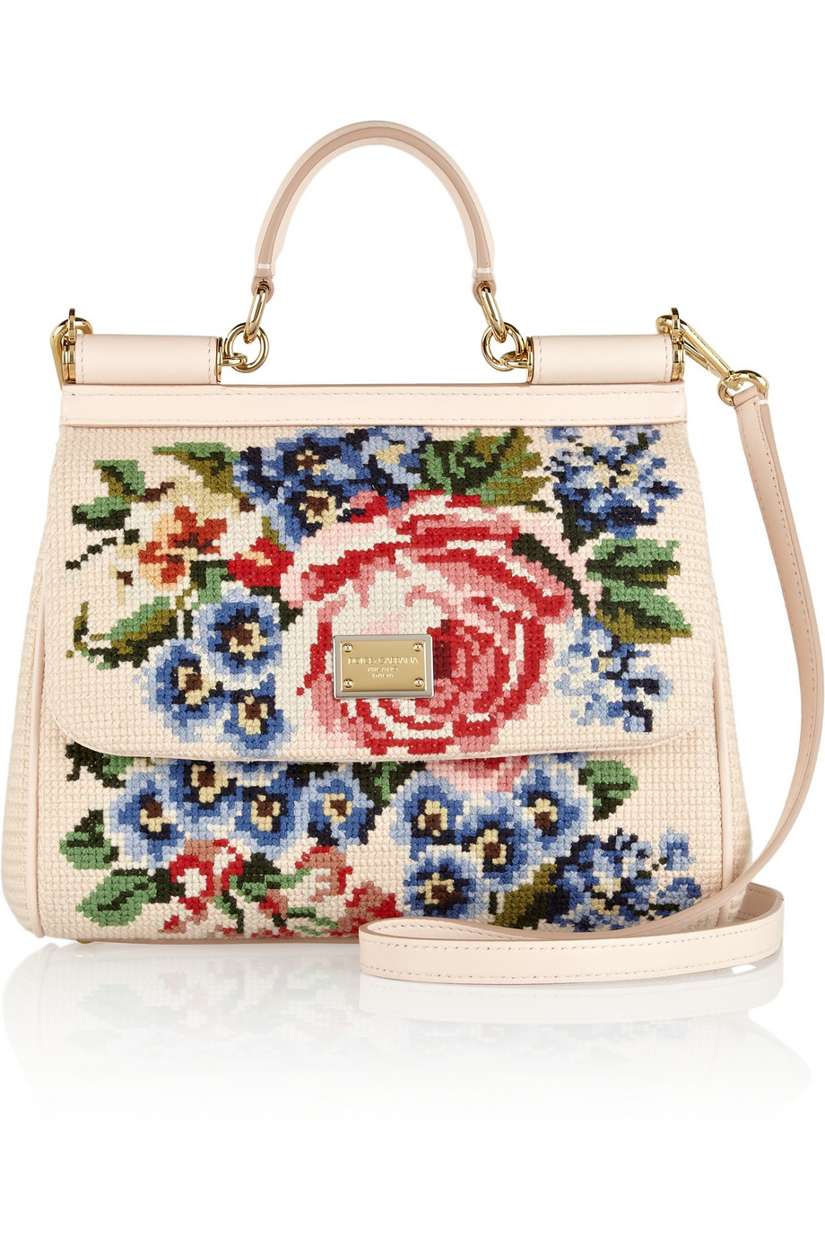 Dolce Amp Gabbana The Sicily Medium Floralembroidered