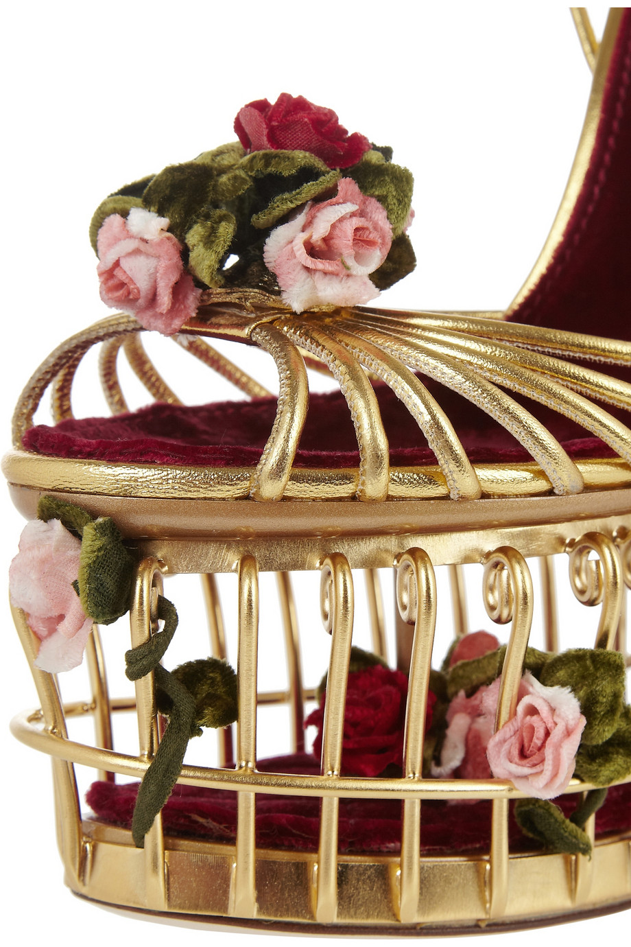 Dolce Amp Gabbana Roseembellished Metallic Leather Cage