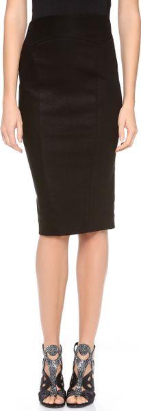 Donna Karan New York High Waisted Slim Skirt in Black