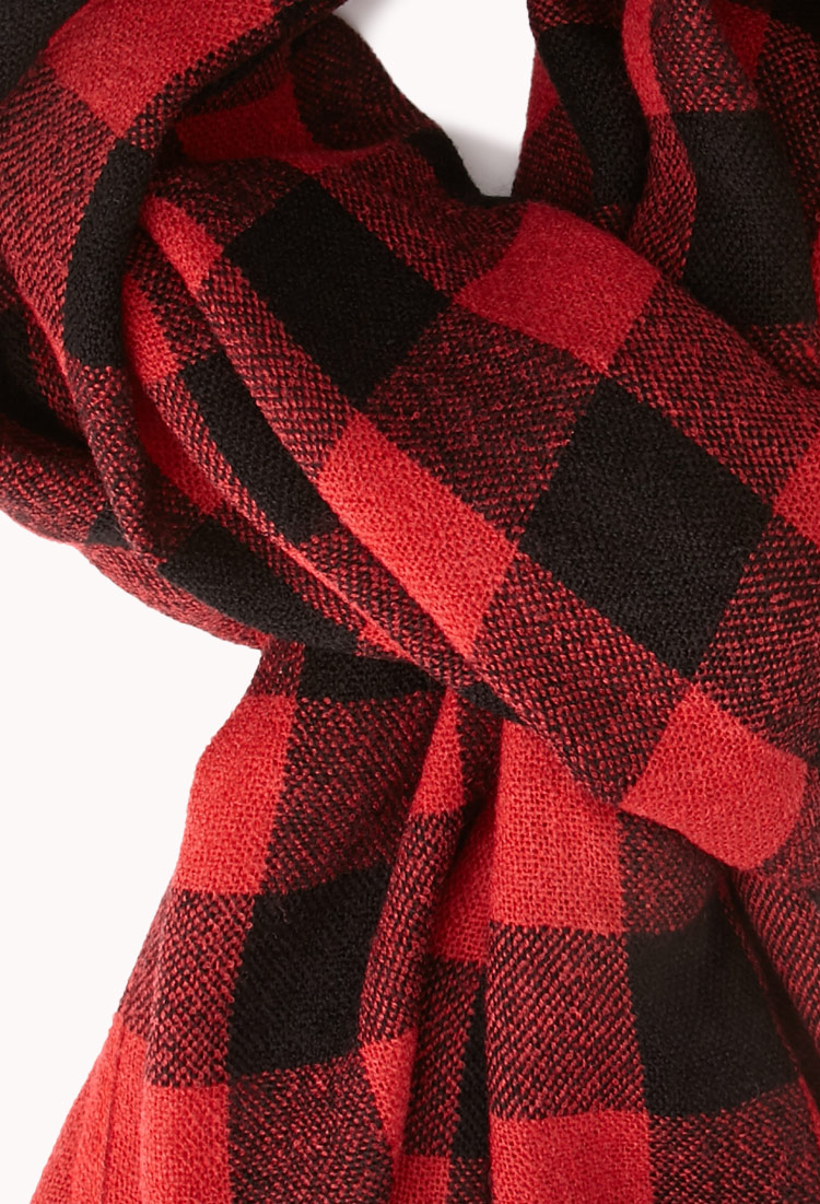 Forever 21 Grunge Plaid Flannel Scarf In Black Red Red