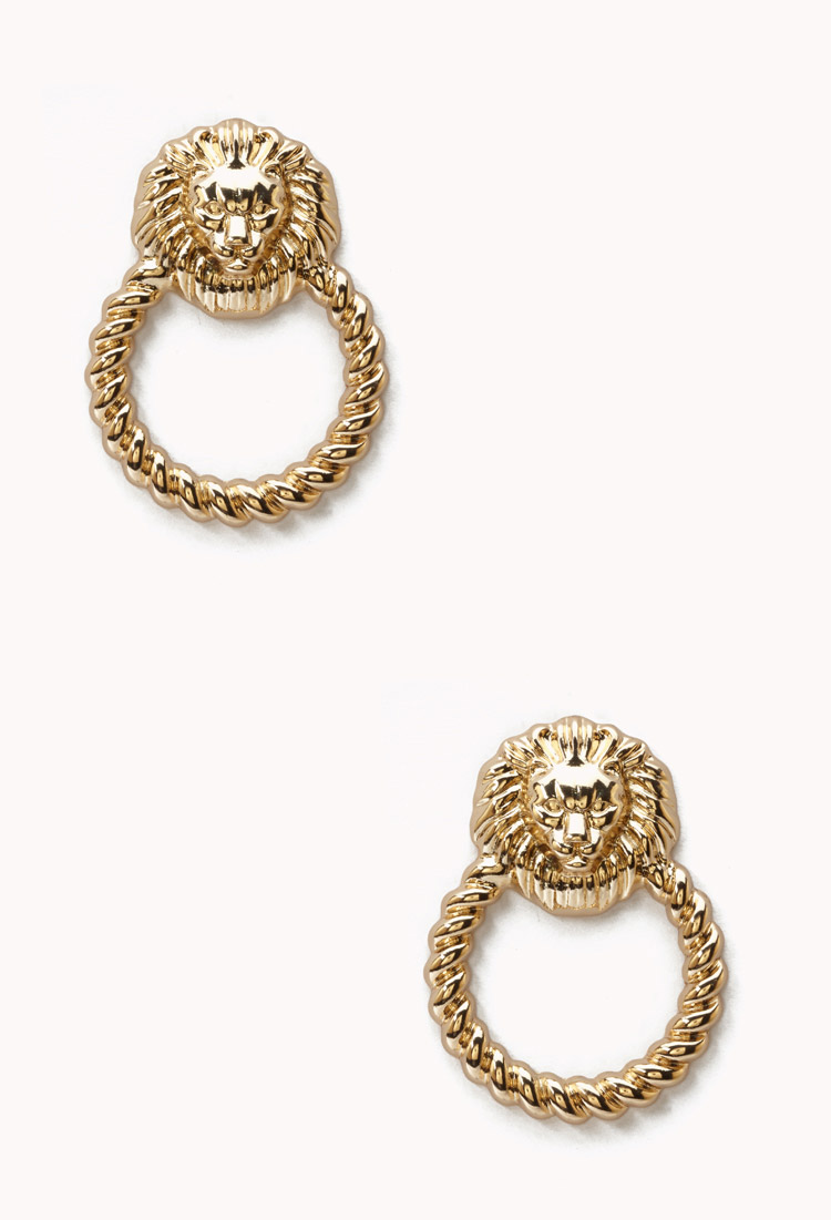 Forever 21 Metallic Lion Door Knocker Earrings