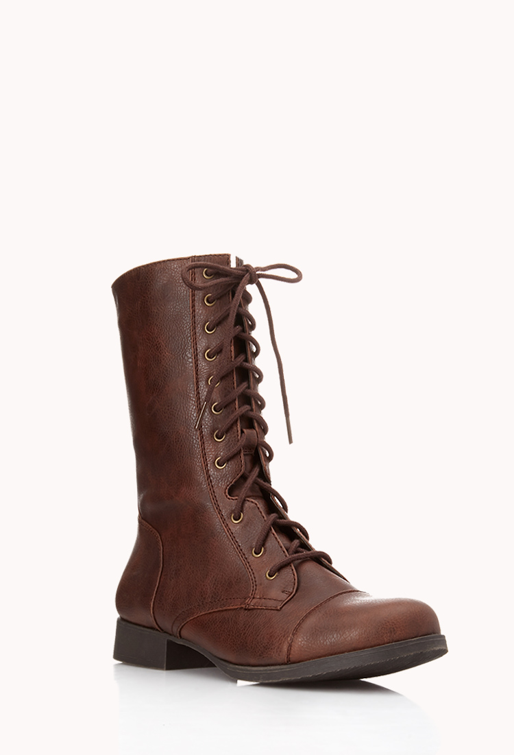 lyst forever 21 everyday combat boots in brown